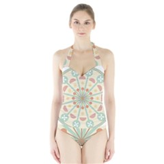 Blue Circle Ornaments Halter Swimsuit
