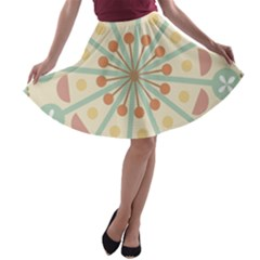 Blue Circle Ornaments A Line Skater Skirt