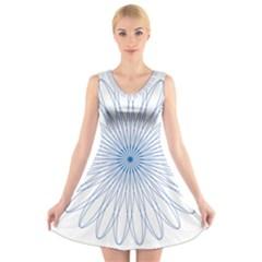 Spirograph Pattern Circle Design V Neck Sleeveless Skater Dress