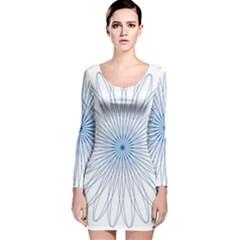 Spirograph Pattern Circle Design Long Sleeve Velvet Bodycon Dress
