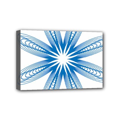 Blue Spirograph Pattern Circle Geometric Mini Canvas 6  x 4