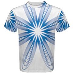 Blue Spirograph Pattern Circle Geometric Men s Cotton Tee