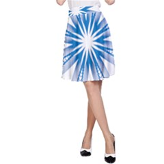Blue Spirograph Pattern Circle Geometric A-Line Skirt
