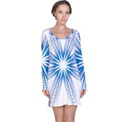 Blue Spirograph Pattern Circle Geometric Long Sleeve Nightdress