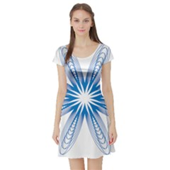 Blue Spirograph Pattern Circle Geometric Short Sleeve Skater Dress