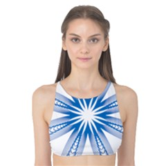 Blue Spirograph Pattern Circle Geometric Tank Bikini Top