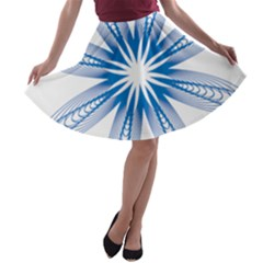 Blue Spirograph Pattern Circle Geometric A Line Skater Skirt