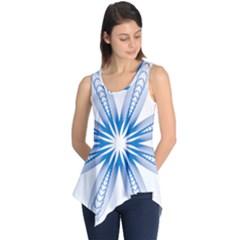 Blue Spirograph Pattern Circle Geometric Sleeveless Tunic