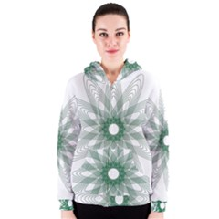 Spirograph Pattern Circle Design Women s Zipper Hoodie