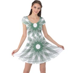 Spirograph Pattern Circle Design Cap Sleeve Dresses