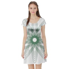 Spirograph Pattern Circle Design Short Sleeve Skater Dress