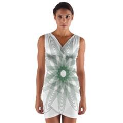 Spirograph Pattern Circle Design Wrap Front Bodycon Dress