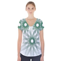 Spirograph Pattern Circle Design Short Sleeve Front Detail Top