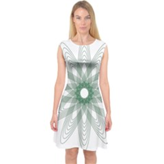 Spirograph Pattern Circle Design Capsleeve Midi Dress