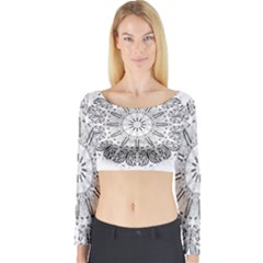 Art Coloring Flower Page Book Long Sleeve Crop Top