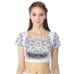 Art Coloring Flower Page Book Short Sleeve Crop Top (tight Fit)