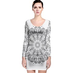 Art Coloring Flower Page Book Long Sleeve Bodycon Dress