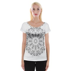 Art Coloring Flower Page Book Women s Cap Sleeve Top