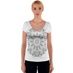 Art Coloring Flower Page Book Women s V-Neck Cap Sleeve Top