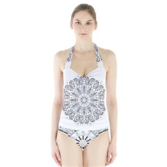 Art Coloring Flower Page Book Halter Swimsuit