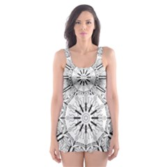 Art Coloring Flower Page Book Skater Dress Swimsuit