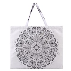 Art Coloring Flower Page Book Zipper Large Tote Bag