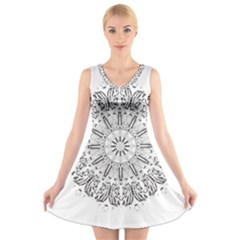 Art Coloring Flower Page Book V Neck Sleeveless Skater Dress