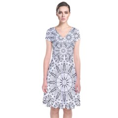 Art Coloring Flower Page Book Short Sleeve Front Wrap Dress