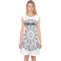 Art Coloring Flower Page Book Capsleeve Midi Dress