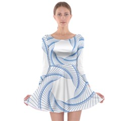 Spirograph Spiral Pattern Geometric Long Sleeve Skater Dress