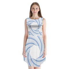 Spirograph Spiral Pattern Geometric Sleeveless Chiffon Dress