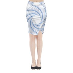 Spirograph Spiral Pattern Geometric Midi Wrap Pencil Skirt