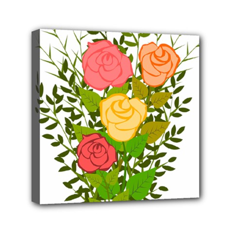Roses Flowers Floral Flowery Mini Canvas 6  x 6