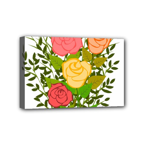 Roses Flowers Floral Flowery Mini Canvas 6  x 4