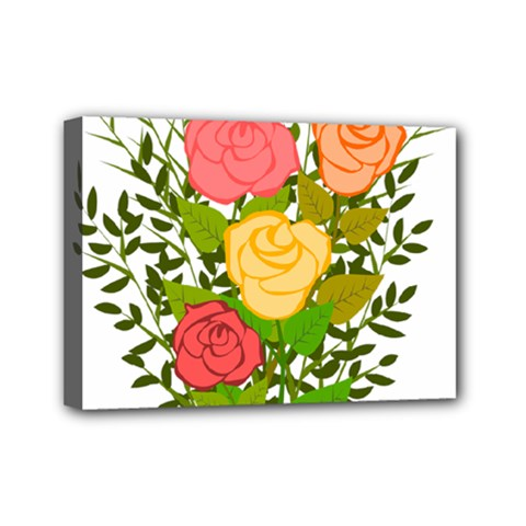 Roses Flowers Floral Flowery Mini Canvas 7  X 5