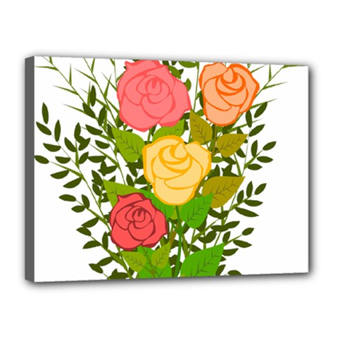 Roses Flowers Floral Flowery Canvas 16  X 12