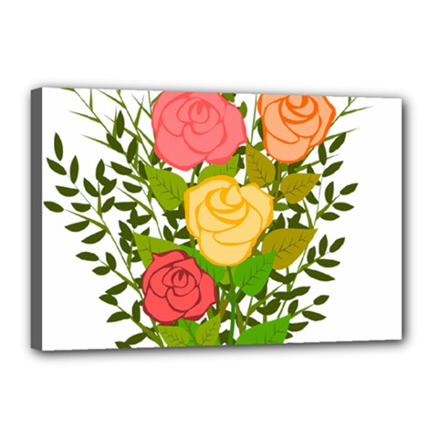 Roses Flowers Floral Flowery Canvas 18  X 12