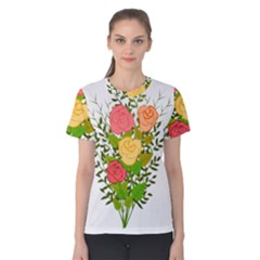 Roses Flowers Floral Flowery Women s Cotton Tee