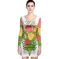 Roses Flowers Floral Flowery Long Sleeve Bodycon Dress