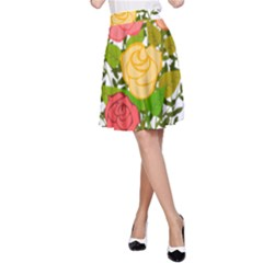 Roses Flowers Floral Flowery A Line Skirt