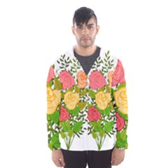 Roses Flowers Floral Flowery Hooded Wind Breaker (Men)