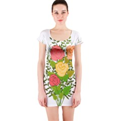 Roses Flowers Floral Flowery Short Sleeve Bodycon Dress