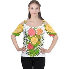Roses Flowers Floral Flowery Women s Cutout Shoulder Tee