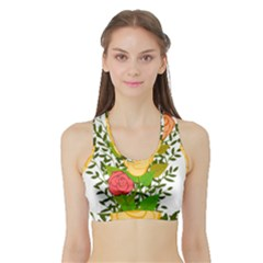 Roses Flowers Floral Flowery Sports Bra with Border
