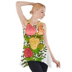 Roses Flowers Floral Flowery Side Drop Tank Tunic