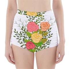 Roses Flowers Floral Flowery High Waisted Bikini Bottoms