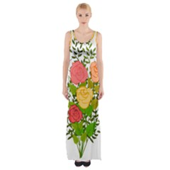 Roses Flowers Floral Flowery Maxi Thigh Split Dress