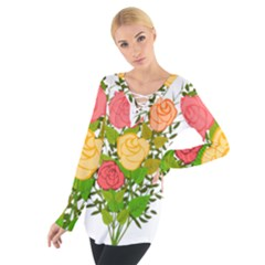 Roses Flowers Floral Flowery Women s Tie Up Tee