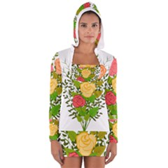 Roses Flowers Floral Flowery Women s Long Sleeve Hooded T-shirt