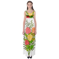 Roses Flowers Floral Flowery Empire Waist Maxi Dress